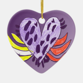 Floating Heart Double-Sided Heart Ceramic Christmas Ornament
