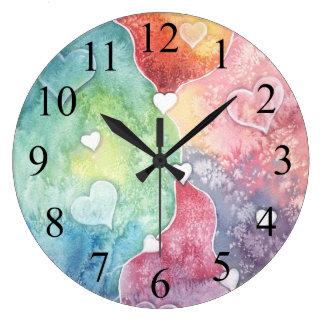 Floating Hearts Abstract Watercolor Art Clock