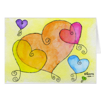 Floating Hearts Greeting Card