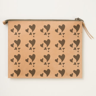 Floating Hearts of Graduating Sizes Patterned Travel Pouch