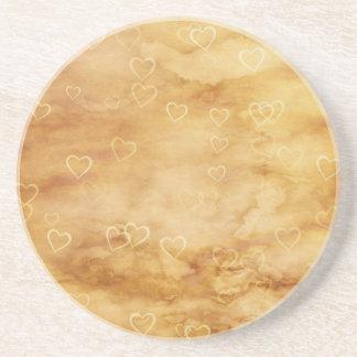 Floating Hearts on Antiqued Background Beverage Coaster