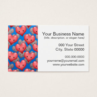 Floating Hearts on Blue Business Card
