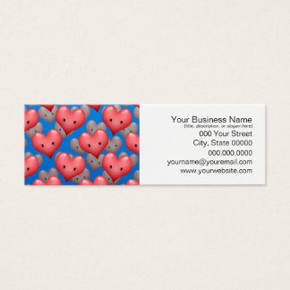 Floating Hearts on Blue Mini Business Card