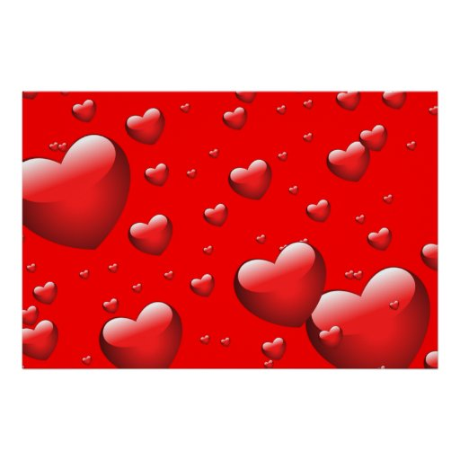 Floating Hearts Pattern Poster
