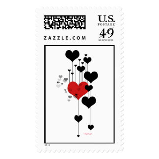 Floating Hearts Postage Stamps