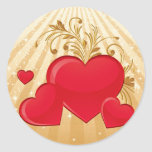 Floating Hearts Round Stickers