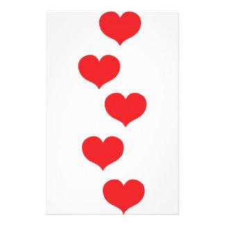 floating hearts customized stationery