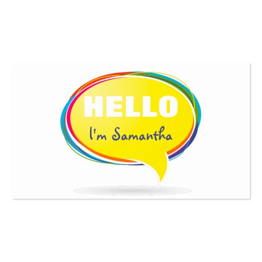 Floating HELLO speech bubble Business Card Templates