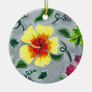 Floating Hibiscus Ceramic Ornament