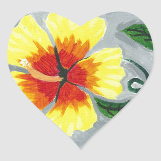Floating Hibiscus Heart Sticker