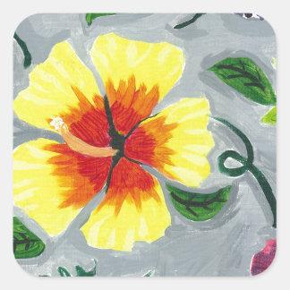 Floating Hibiscus Square Sticker