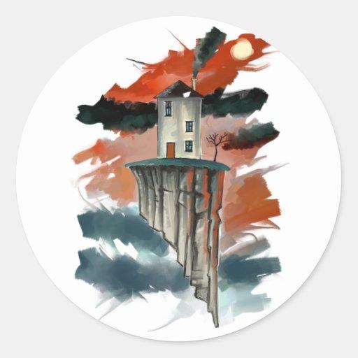 Floating House Round Sticker
