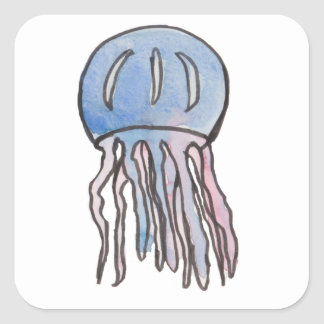 Floating Jellyfish Square Sticker