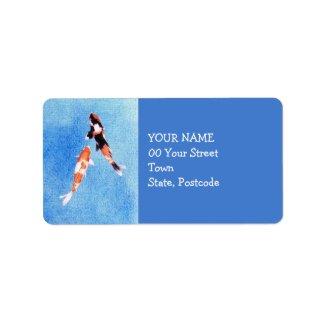 Floating Koi blue Address Label label