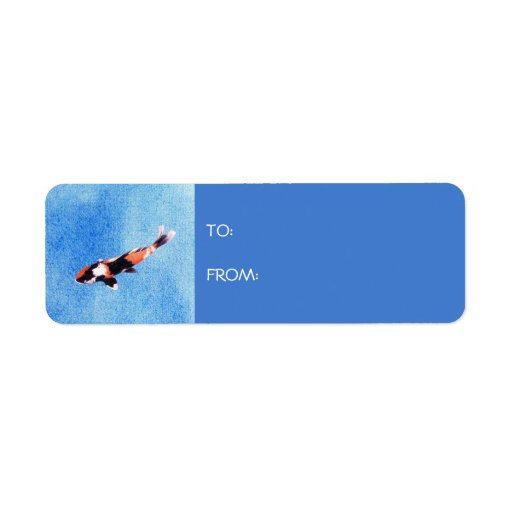 Floating Koi blue Gift Tag Label