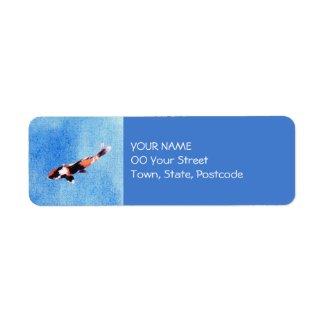 Floating Koi blue Return Address Label label