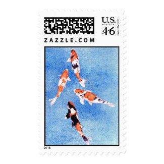 Floating Koi Blue Stamp stamp