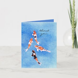 Floating Koi Blue Thank You Note Card card