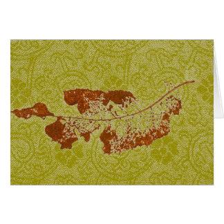"""Floating Leaf #1 Y-Green"" Country Greeting Card"