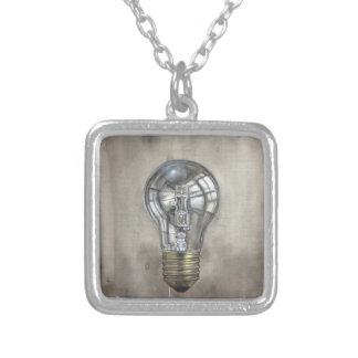 Floating Light Bulb Silver Plated Necklace