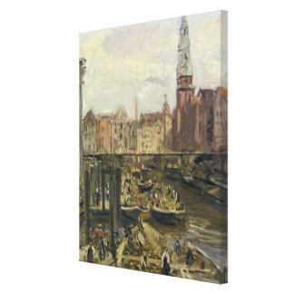 Floating Market on a canal in Hamburg, 1905 Canvas Print