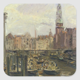 Floating Market on a canal in Hamburg, 1905 Square Sticker