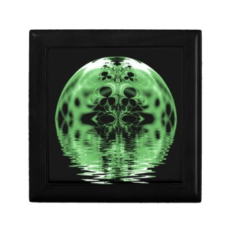 Floating Moon Green and Black Keepsake Boxes