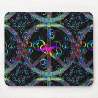 Floating Neon Peace Signs Mouse Pad