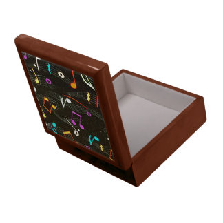 Floating Notes Fabric Print Jewelry Box
