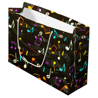 Floating Notes Fabric Print Large Gift Bag