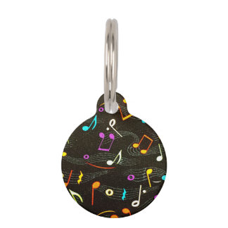 Floating Notes Fabric Print Pet Tag