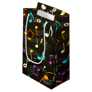 Floating Notes Fabric Print Small Gift Bag