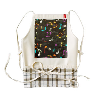 Floating Notes Fabric Print Zazzle HEART Apron