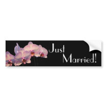 Floating Orchid - Just Married Bumper Sticker