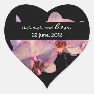 Floating Orchids Black Wedding Sticker