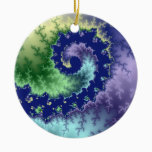 Floating Out Christmas fractal Ceramic Ornament