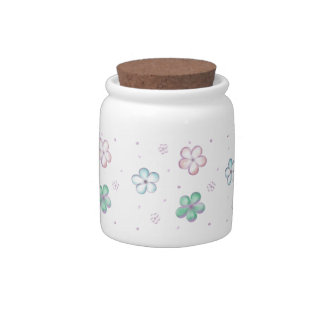 Floating Pastel Bubble Flowers Candy Dish
