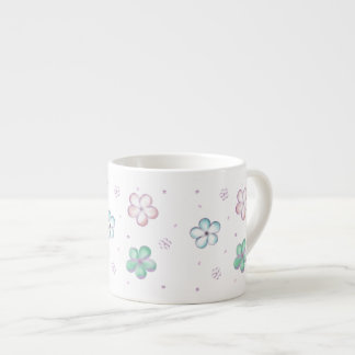 Floating Pastel Bubble Flowers Espresso Cup
