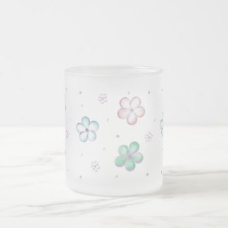 Floating Pastel Bubble Flowers Frosted Glass Coffee Mug