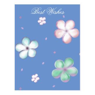 Floating Pastel Bubble Flowers Postcard
