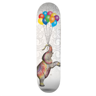 Floating Peace Elephant Damask Balloons Skate Deck