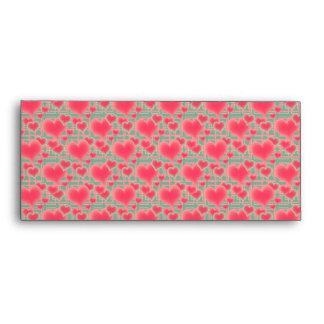 Floating Pink Hearts Pattern Envelope
