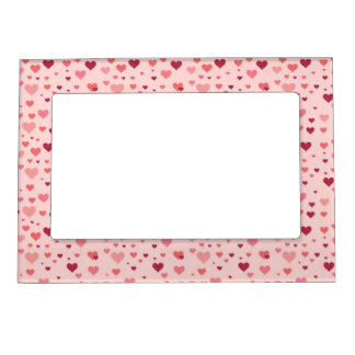 Floating Pink Hearts Valentine's Day Pattern Magnetic Photo Frames