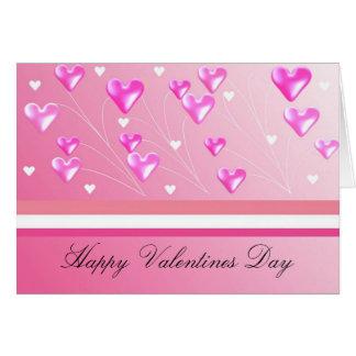 Floating Pink Valentine Hearts Cards