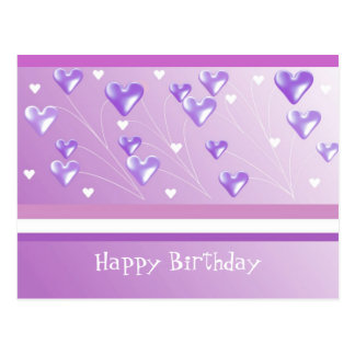 Floating Purple Hearts Birthday Greeting Postcard