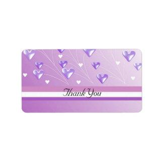 Floating Purple Hearts Personalized Address Label