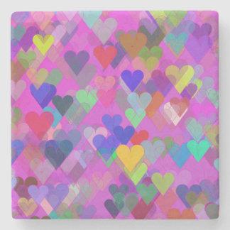 Floating Rainbow Heart Stone Coaster