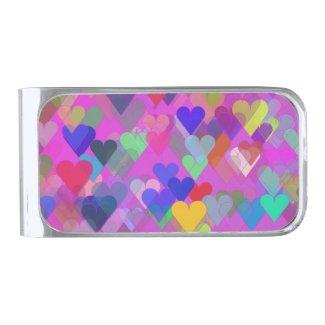 Floating Rainbow Heart Silver Finish Money Clip
