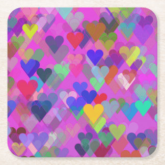 Floating Rainbow Heart Square Paper Coaster