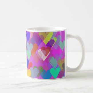 Floating Rainbow Hearts Coffee Mugs